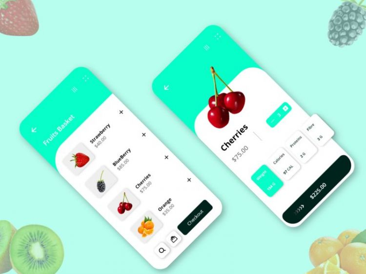 Fruits Ordering App UI Kit Free (XD)