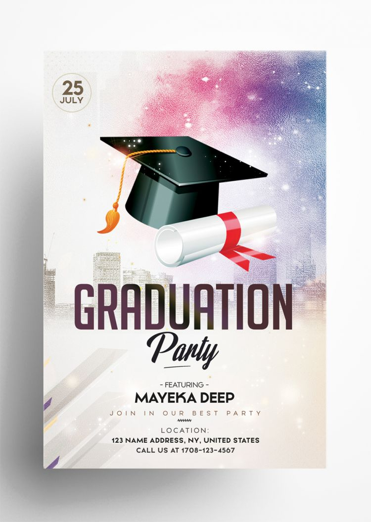 Graduation Party Free Flyer Template (PSD)