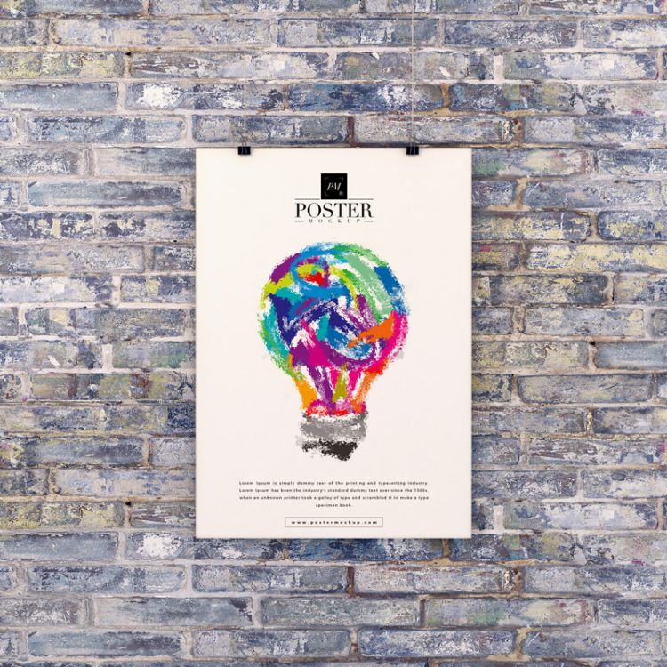 Hanging Poster With Clips Free Mockup