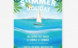 Holiday on Beach Free Flyer Template (PSD)