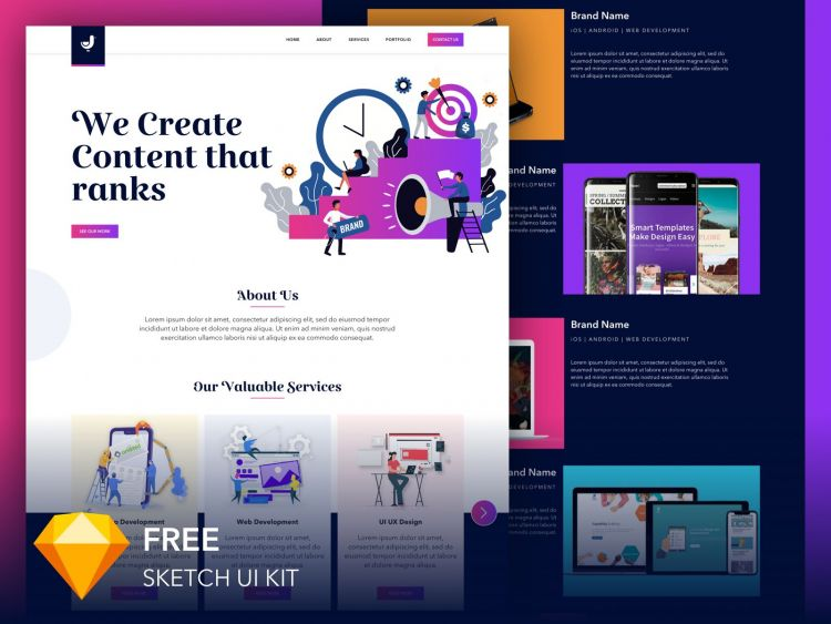 Homepage Creative Web Design Free Template (Sketch)