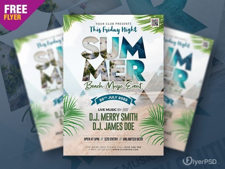 In the Beach Free Party Flyer Template (PSD)