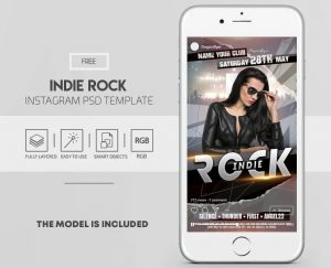 Indie Rock Free Event Instagram PSD Template