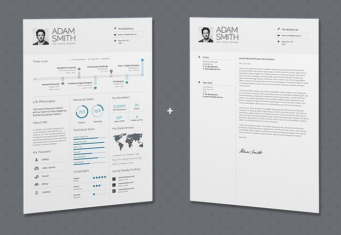 Infographic Resume CV Free Template (INDD,PSD)