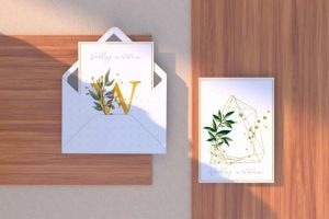 Invitation with Envelope Free Mockup