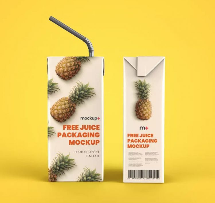 Juice Carton Packaging Box Free Mockup