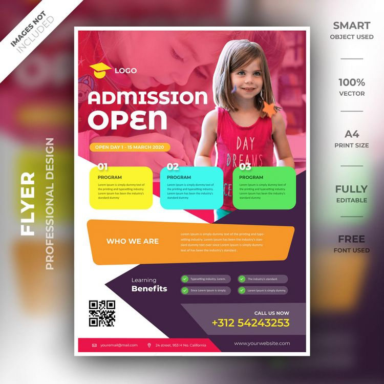 Kids School Education Free Flyer Template (PSD)