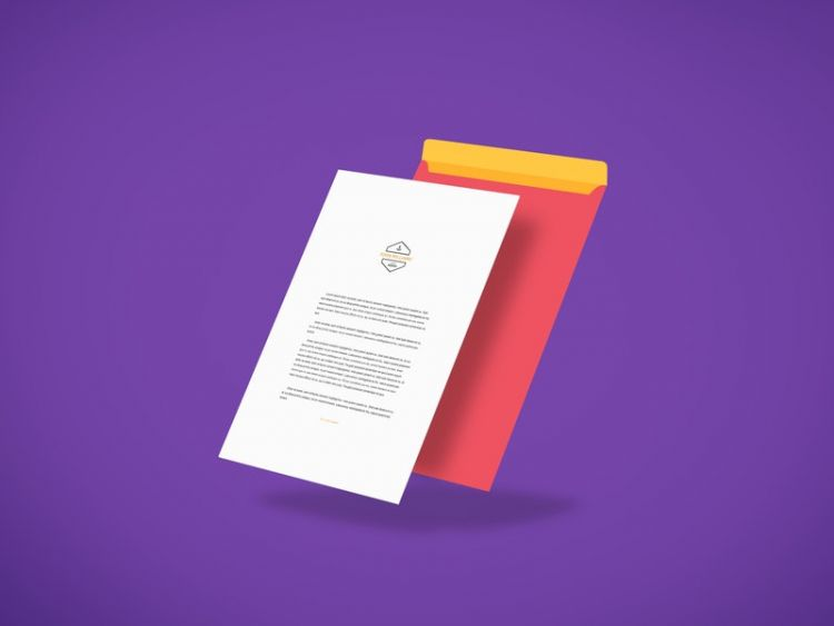 Letterhead Above Envelope Free Mockup