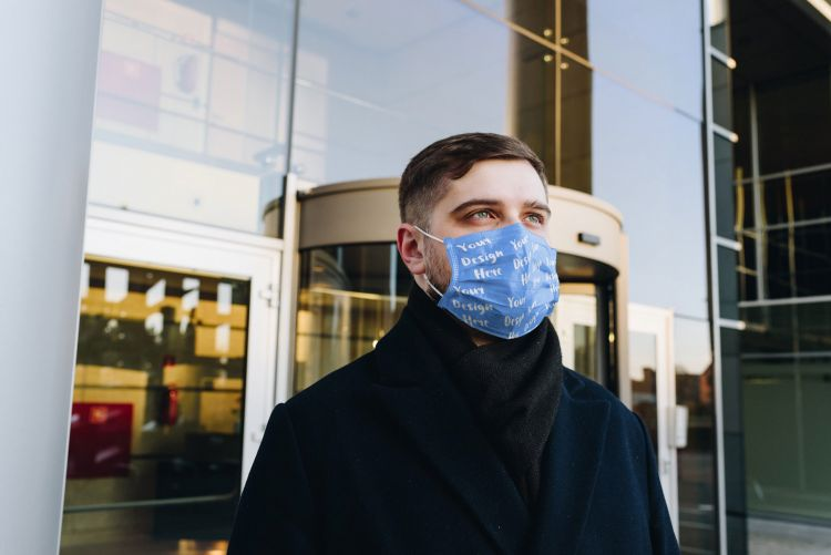 Man Wearing a Face Mask Free Mockup