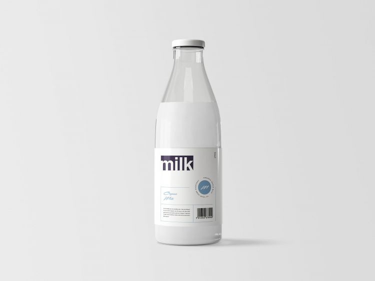 Milk Bottle Free Mockup (PSD)