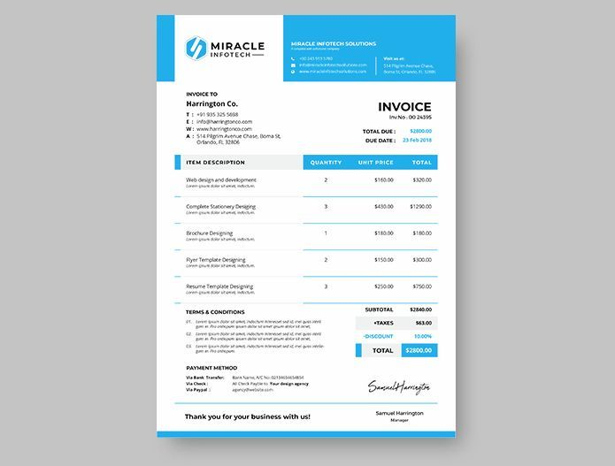 Modern Invoice Free Template (A4)