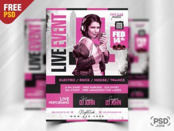 Modern Karaoke Event Free Flyer Template (PSD)