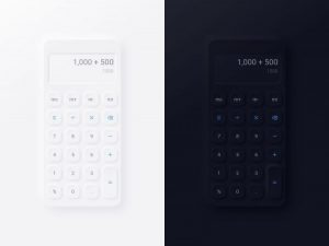 Neumorphic Calculator UI Kit Free XD