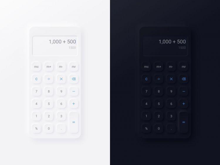 Neumorphic Calculator UI Kit Free XD