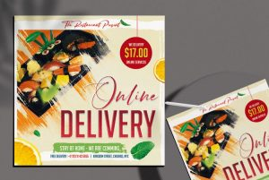 Online Delivery Food Free Flyer Template (PSD)
