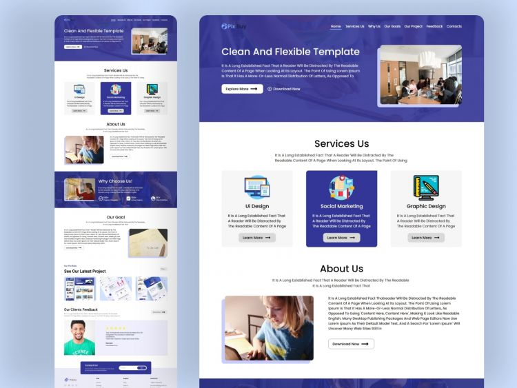 Online Work Agency Free Landing Page (XD)