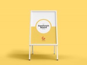 Outdoor Advertisement Sandwich Board Free Mockup (PSD)