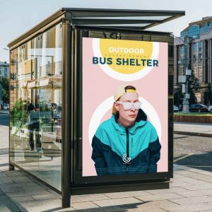Outdoor Bus Shelter Advertisement Free Mockup