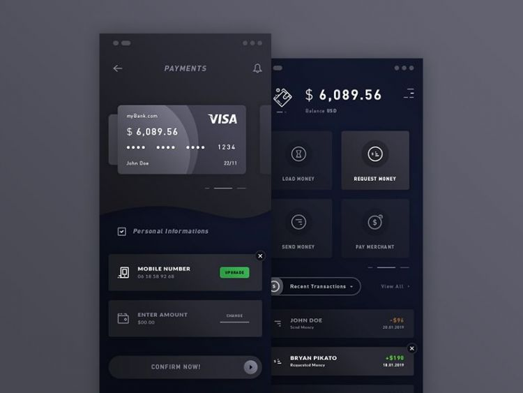 Payments & Wallet App Free PSD Template