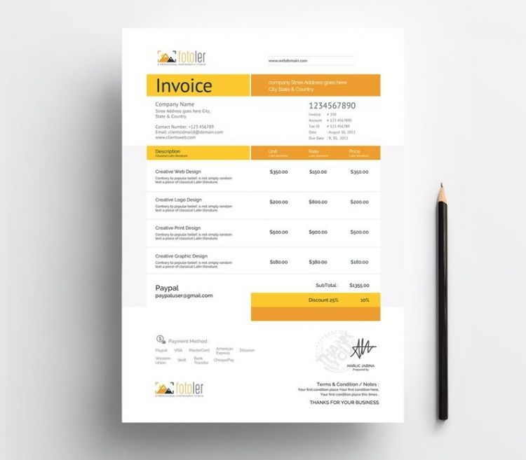 Photographer Invoice Free Template (EPS)