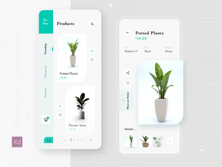 Plants App UI Template Free XD