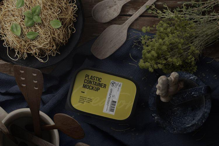 Plastic Container - Kitchenware Scene Free Mockup