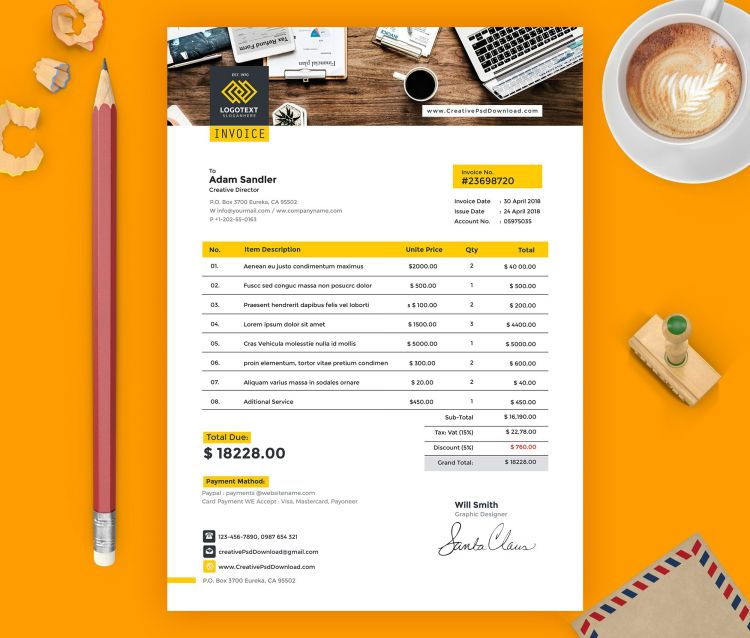 Professional Invoice Free Template (A4)