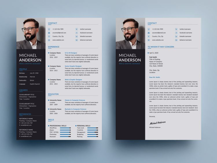 Professional Resume & CV Free Template (PSD)