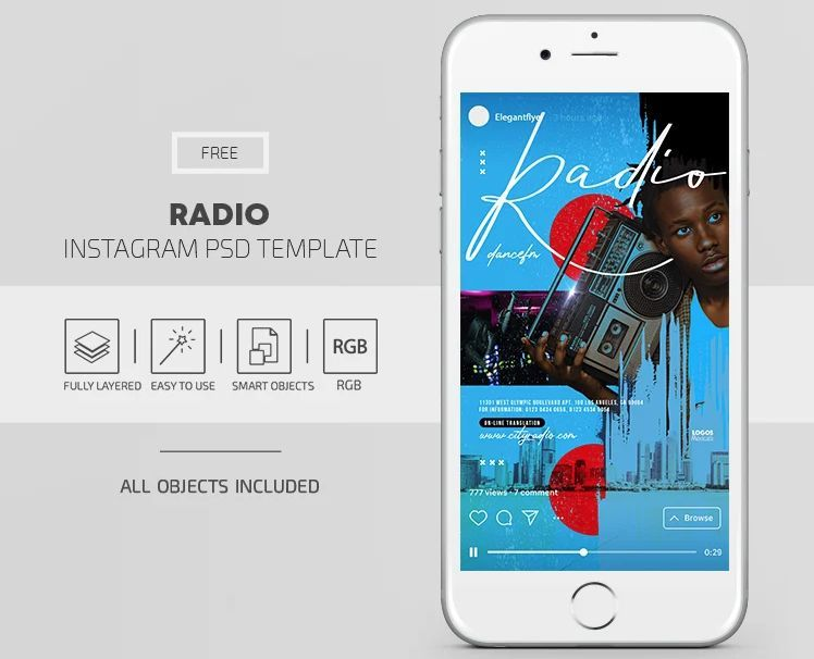 Radio Music Free Instagram Templates (PSD)