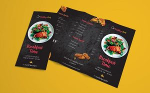 Restaurant Menu Freebie Tri-Fold Brochure Template (PSD)