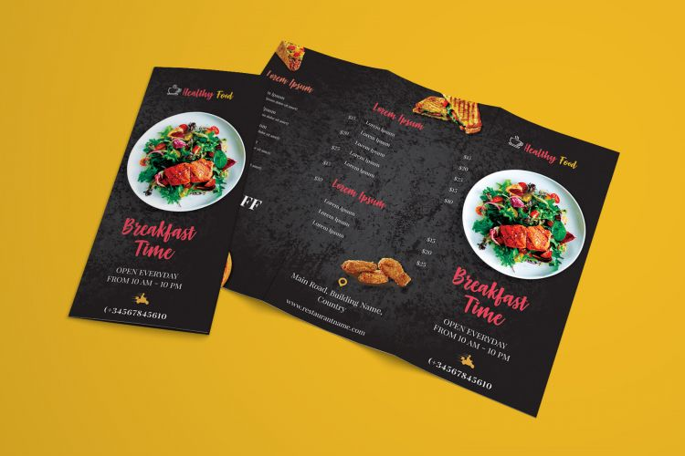 Restaurant Menu Freebie Tri-Fold Brochure Template (PSD)