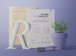 Resume with Envelope Scene Creator Free Mockup