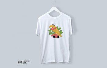 Round Neck Cotton T-Shirt Free Mockup