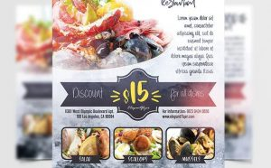 Seafood Ad Restaurant Free Flyer Template (PSD)