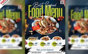 Seafood Menu Ad Free Flyer Template (PSD)