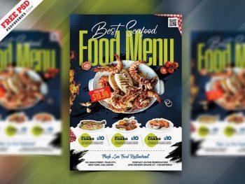 Seafood Menu Ad Free Flyer Template (PSD)