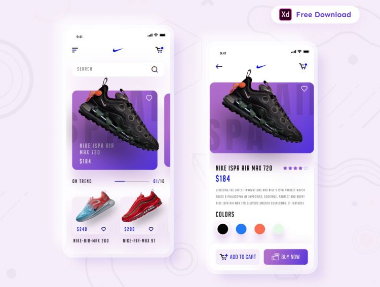 Shoes Store Concept App Free UI Kit