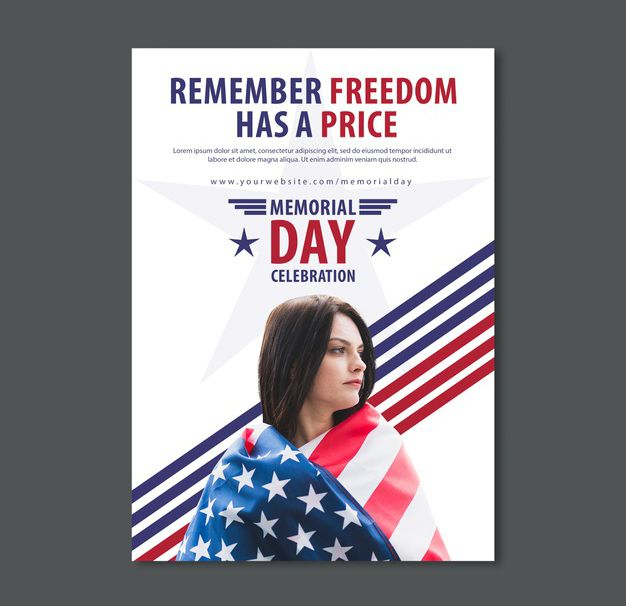 Simple Memorial Day Free Flyer Template (PSD)