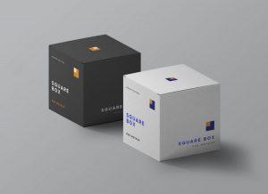 Square Boxes PSD Free Mockup