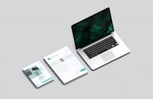 Stationery & Branding MacBook Free Mockup