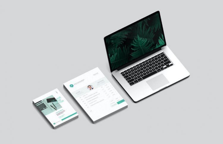 Stationery & Branding MacBook Free Mockup