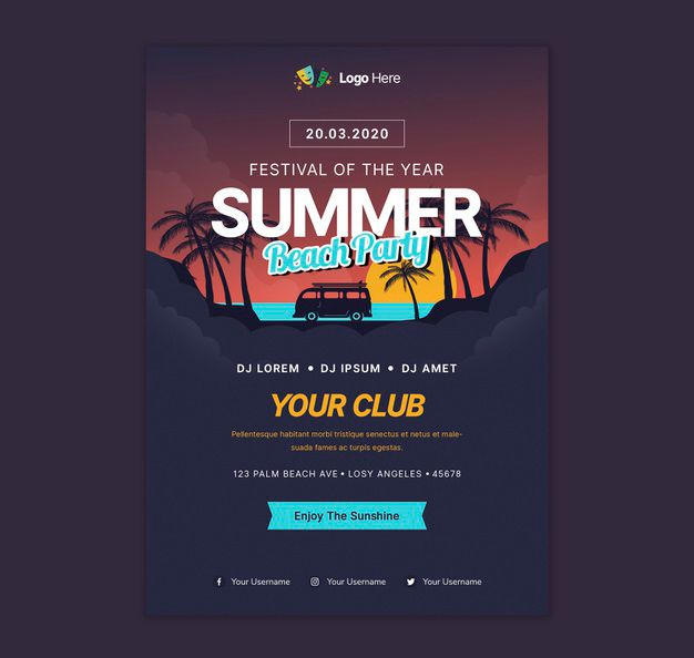 Summer Beach Party Free Flyer Template (PSD)