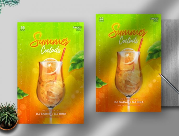 Summer Drink Party Free Flyer Template (PSD)