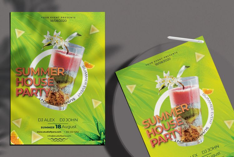 Summer House Party Free PSD Flyer Template