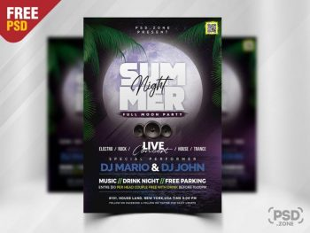 Summer Night Party Free Flyer Template (PSD)
