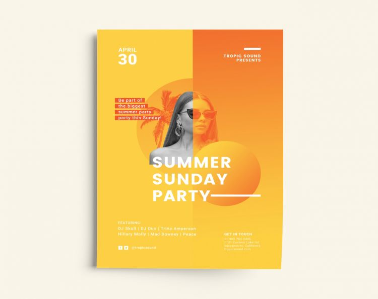 Summer Sunday Free Flyer Template (PSD)