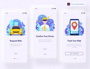 Taxi App Onboarding Free UI Kit (XD)