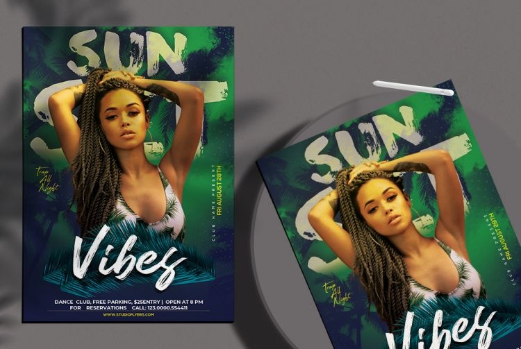 Tropic Party Free Summer Flyer Template (PSD)