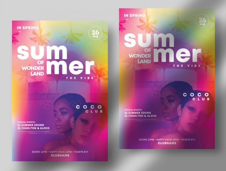 Tropical Color Free Summer Flyer Template (PSD)