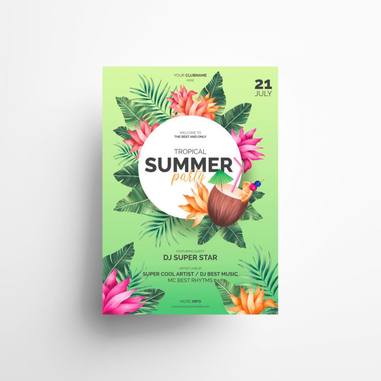 Tropical Vibe Free Summer Flyer Template (PSD)